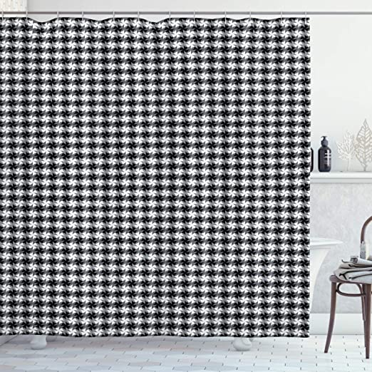 Geometric Shower Curtain Square Shaped Grids Print for Bathroom