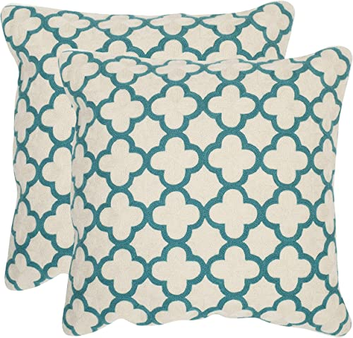Safavieh Pillow Collection Throw Pillows, 20 by 20-Inch, Sandre Teal, Set of 2
