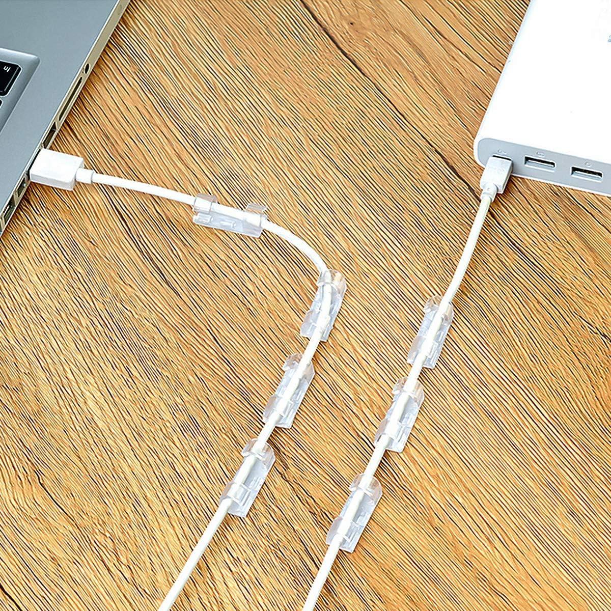Lot de 3 clips de c/âble Organisateur Bureau en silicone Adh/ésif Attache-C/âbles et Gestion de c/âbles de Recharge pour TV Ordinateur PC Portable Maison et Bureau