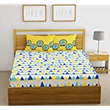 Fab Theory Cart Wheel 104 TC 100% Cotton Double Bedsheet with 2 Pillow Covers co-ordinated, Blue and Yellow