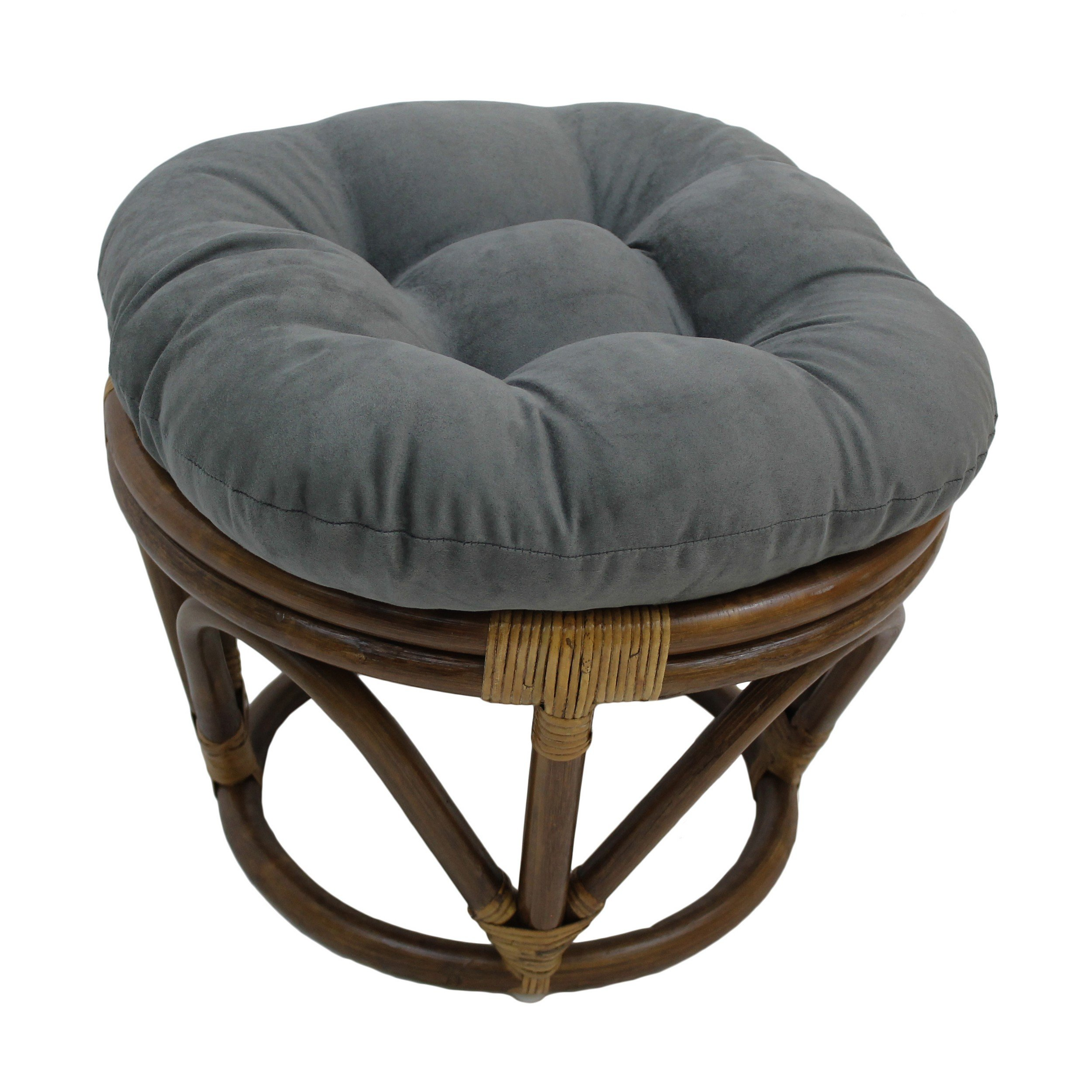 Blazing Needles Solid Microsuede Tufted Round Footstool Cushion, 18'', Steel Grey