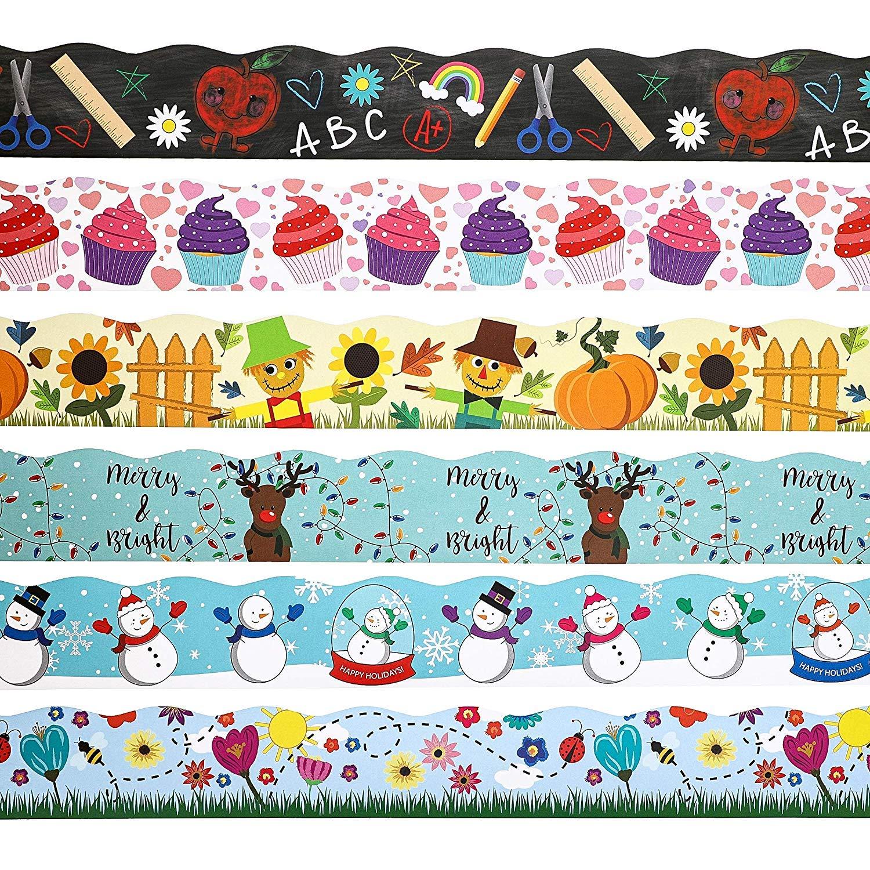 Juvale 6 Rollen Seasons and Holidays Pinnwand Bord/üre Klassenzimmer Dekoration 6 Motive 5,1 x 91,4 cm