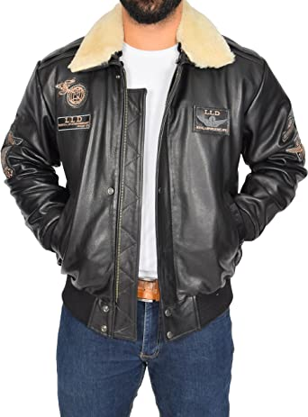 Mens Top Gun Brown Badge Fur Collar Bomber US Air Force Pilot Leather Jacket