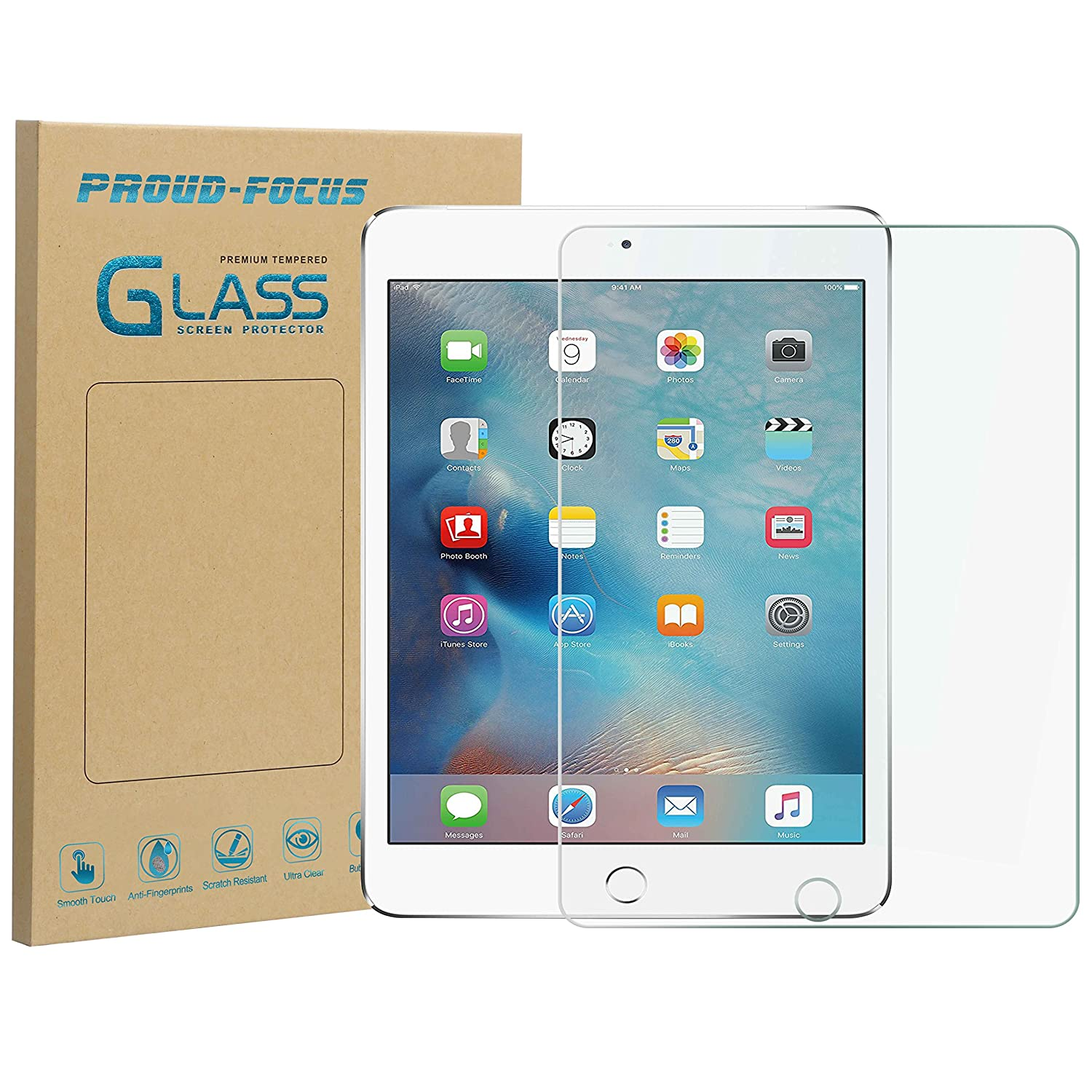 iPad Mini 4 Screen Protector, Premium Tempered Glass Screen Protector for Apple iPad Mini 4 with [Case Friendly] [2.5D Rounded Edge] [10H Hardness] [Easy Installation] Proud Focus Screen Protector