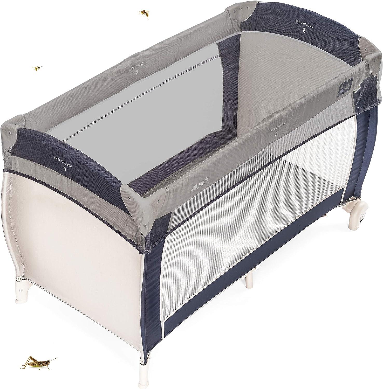 Zamboo Mosquitera universal para cuna de viaje - Red antiinsectos de malla fina para cunas y minicunas 120x60 / 80x50 cm - resistente y lavable, color gris