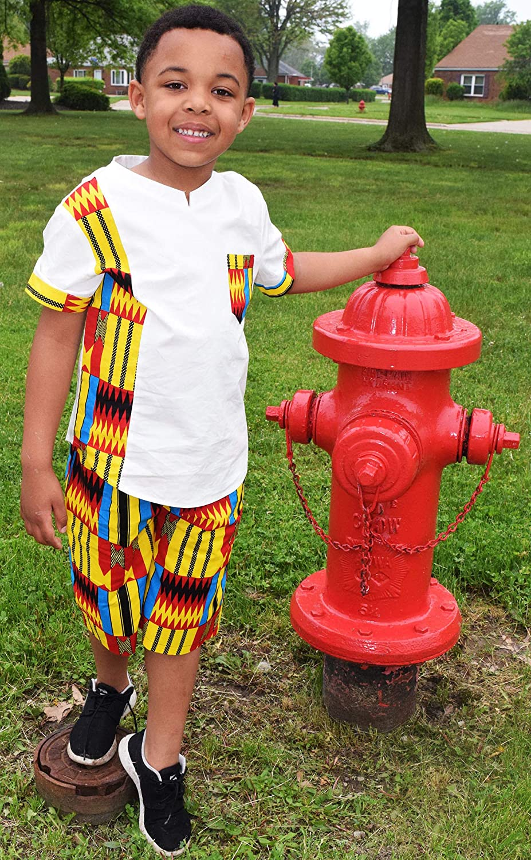 Shenbolen Boy African Print Kente Kids Ankara Suit African Ghana Tribal Clothing