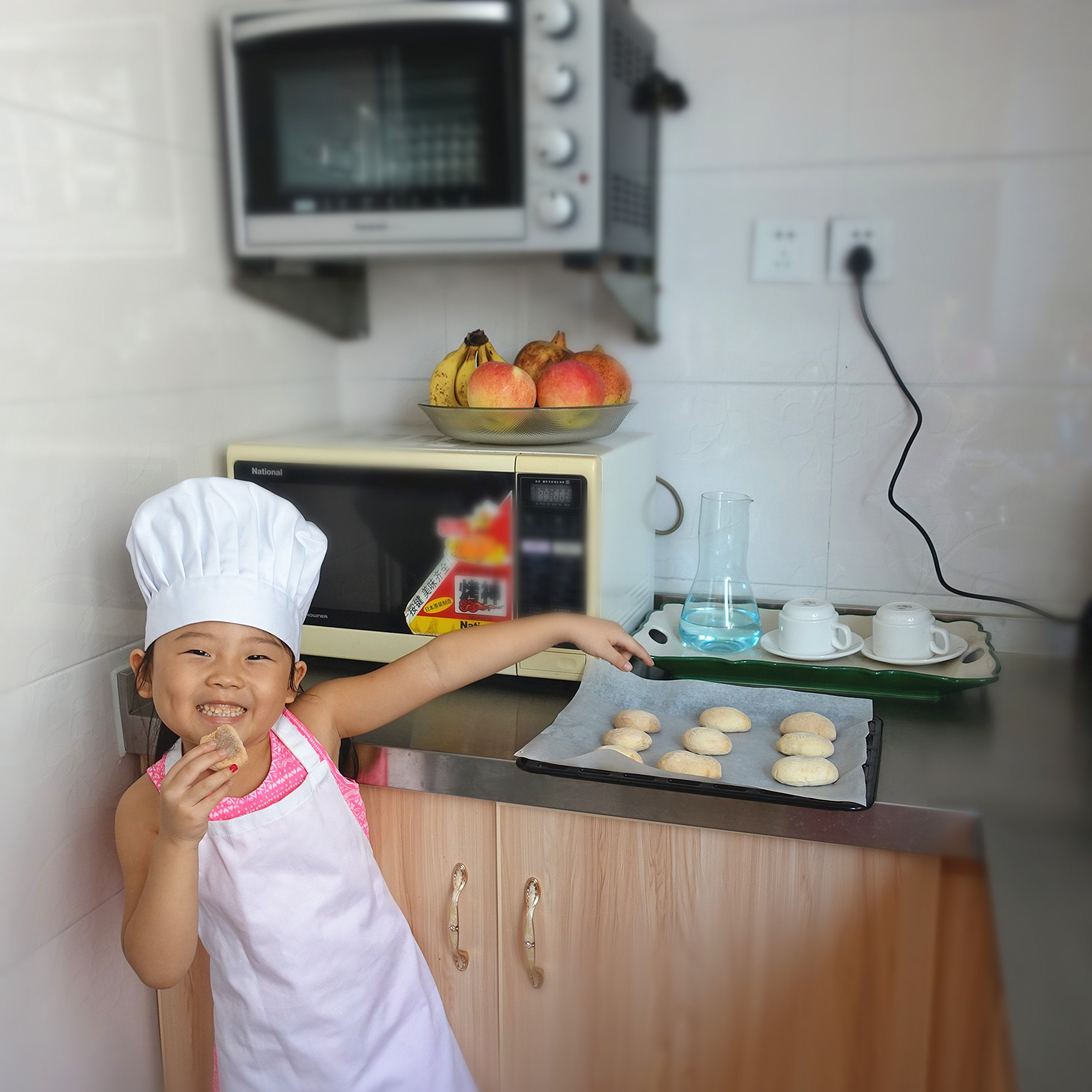 2 Pc-White kids'chef apron and hat set for cooking,baking,painting or decorating party (1-3Years) by MULAN (Image #5)