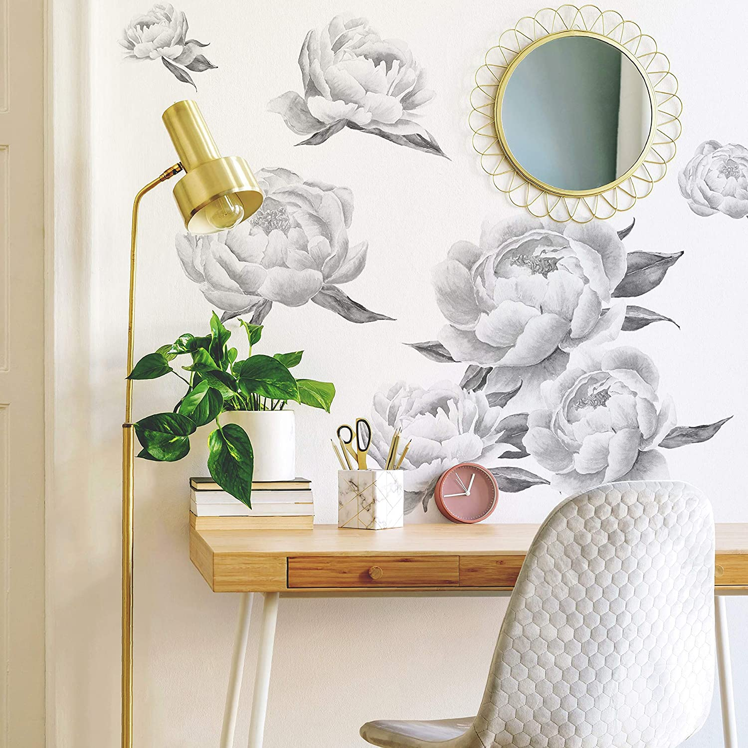 RoomMates RMK4413GM Black Peonies Peel And Stick Giant Wall Decals