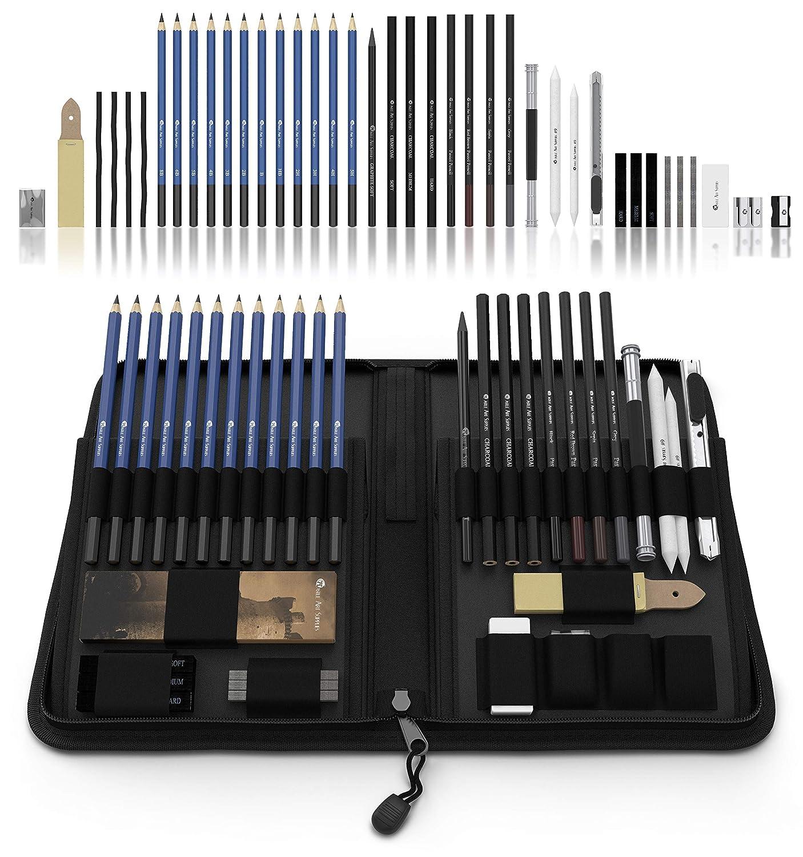 Castle Art Supplies 40 Bleistifte fürs Zeichnen und Sketch-Set in auffaltbarer Reißverschluss-Hülle – inklusive Graphit-, Pastell und Kohle-Bleistifte und -Zubehör 4336945598