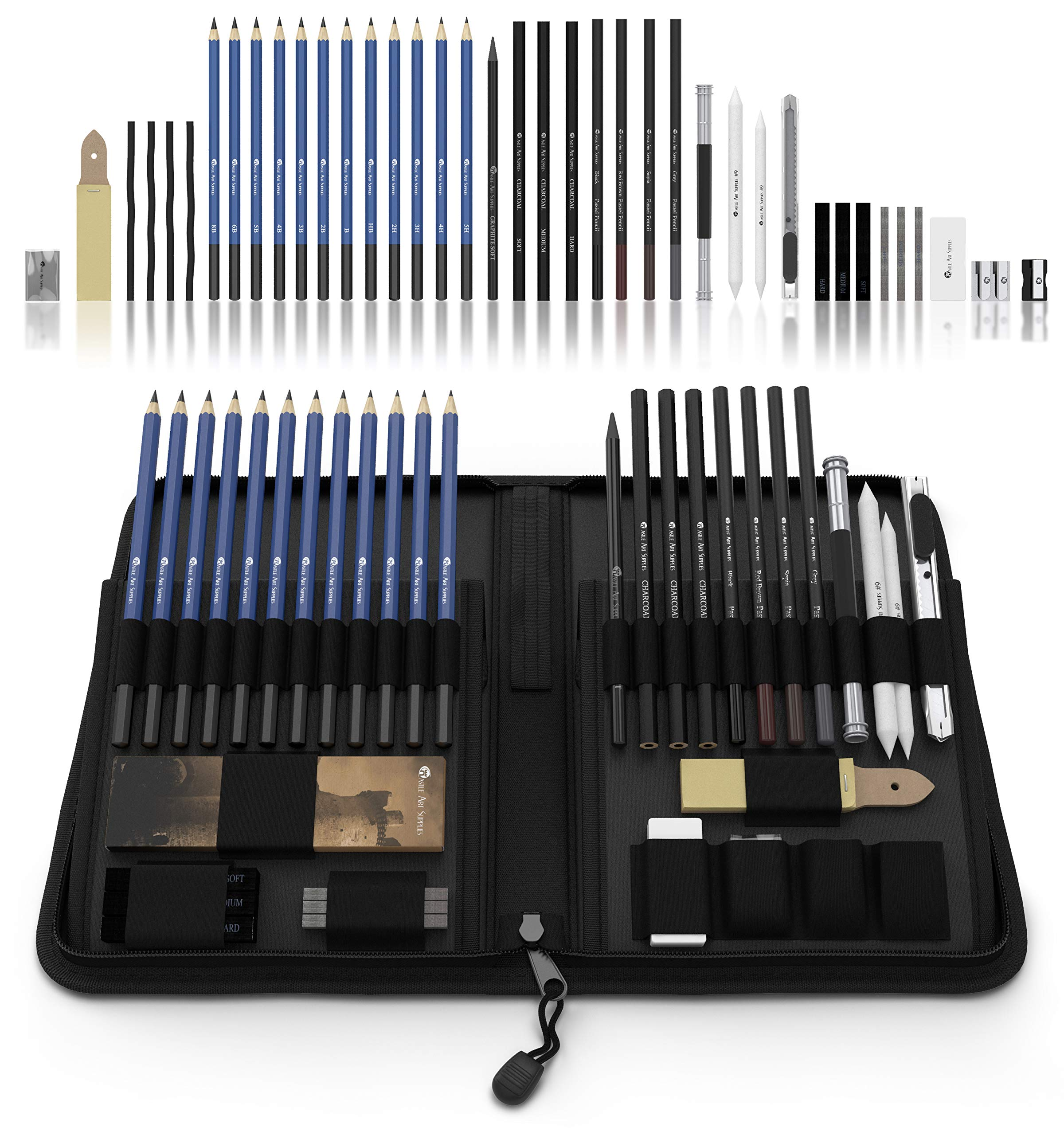 Castle Art Supplies Graphite Drawing Pencils and Sketch Set (40-Piece Kit), Complete Artist Kit Includes Charcoals, Pastels and Zippered Carry Case, Includes Rare Pop-Up Stand by Castle Art Supplies