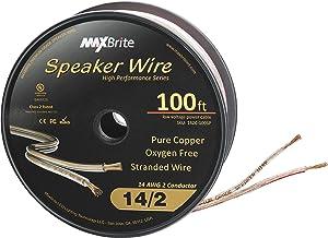 High Performance 14 Gauge Speaker Wire, Oxygen Free Pure Copper - UL Listed Class 2 (100 Feet Spool)