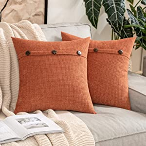 MIULEE Pack of 2 Chenille Rustic Farmhouse Decorative Throw Pillow Covers Cushion Case Triple Button Vintage Farmhouse Pillowcase for Sofa Living Room Bedroom 18X18 Inch Burnt Orange
