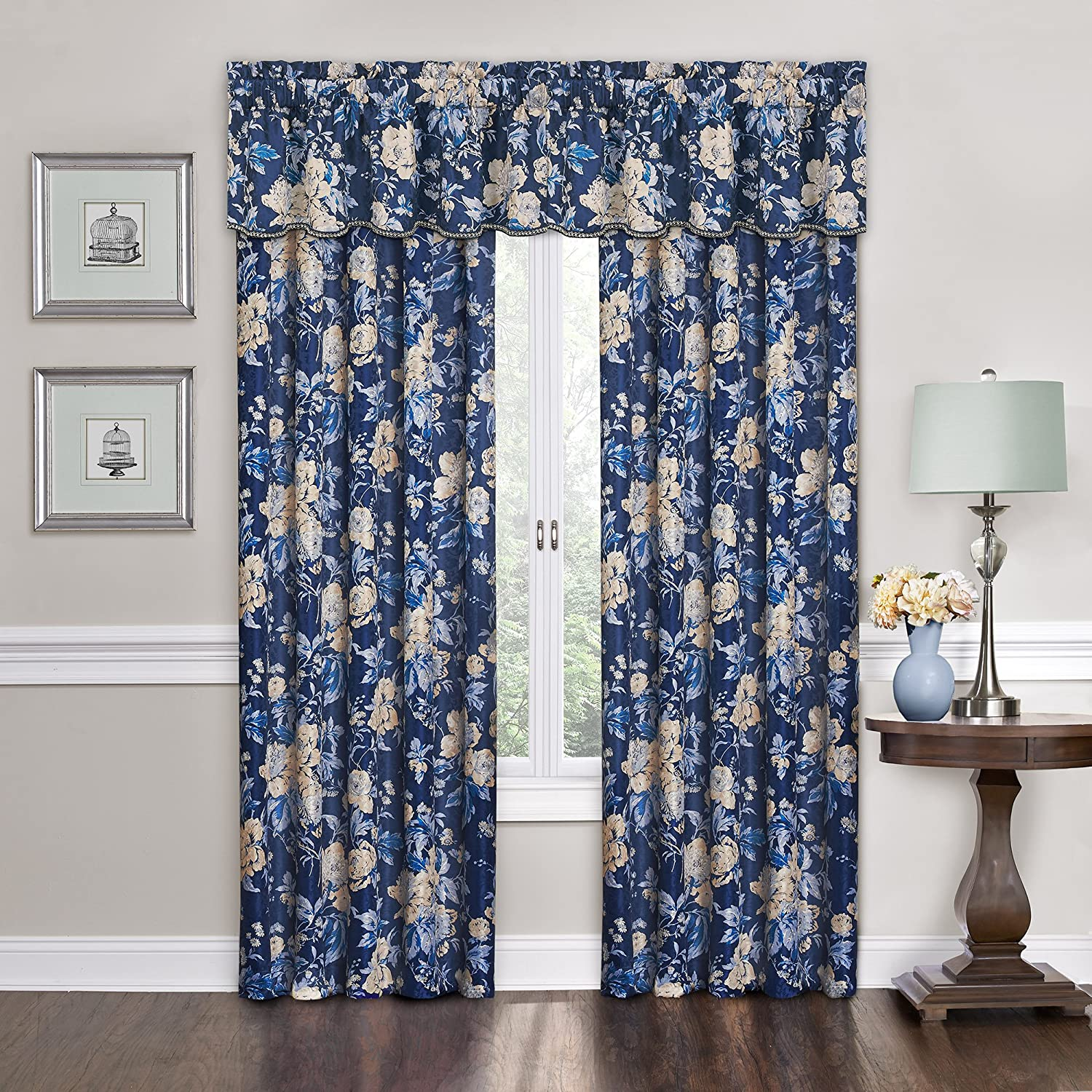 Traditions by Waverly Forever Yours Floral Window Valance Indigo