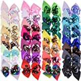 SIQUK 30 Pieces Sequin Bows 4.5 Inch Hair Bow Reversible Sequin Bows Hair Clips for Girls