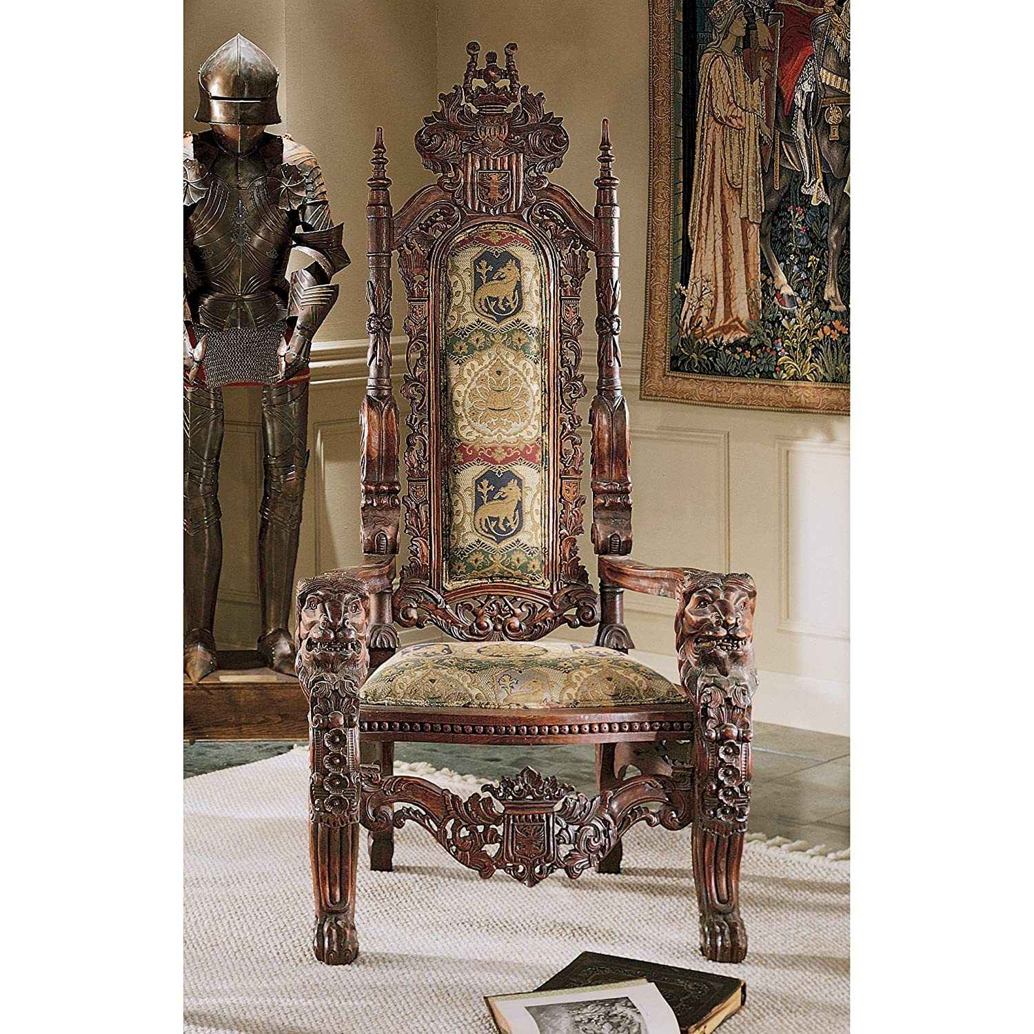 Amazon Design Toscano The Lord Raffles Lion Throne Fabric Arm