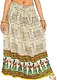 Exotic India White Warli Folk Printed Long Skirt WI