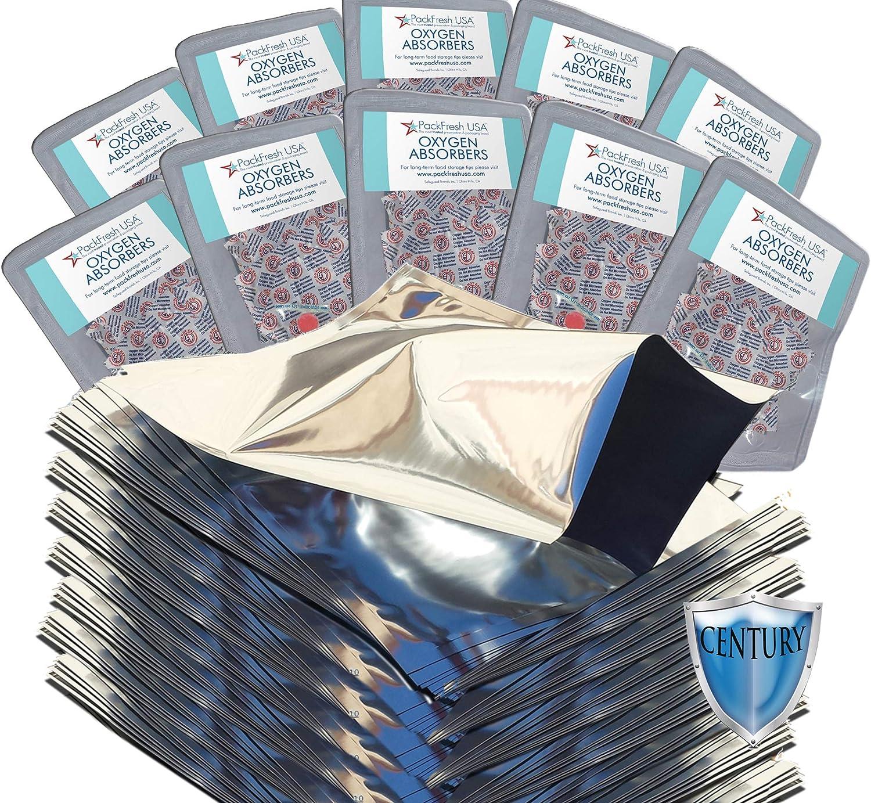 PackFreshUSA: 100 Pack - 5 Mil - One Quart Premium Century Mylar Bags (8