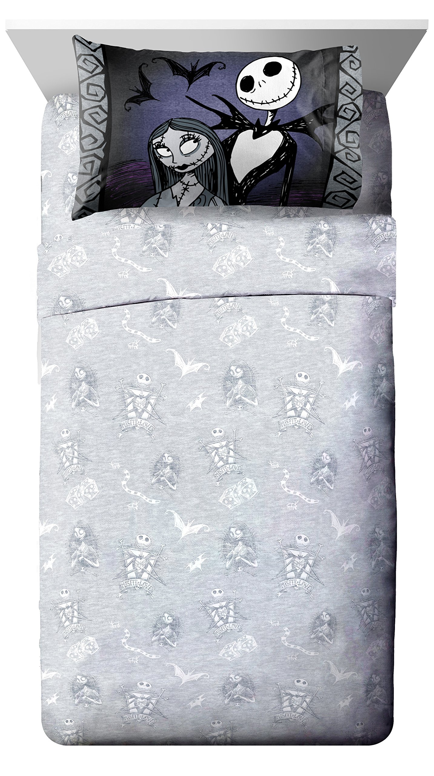 Disney Nightmare Before Christmas Meant To Be Full Sheet Set - 4 Piece Set Super Soft Kid's Bedding Features Jack Skellington - Fade Resistant Polyester Microfiber Sheets (Official Product)