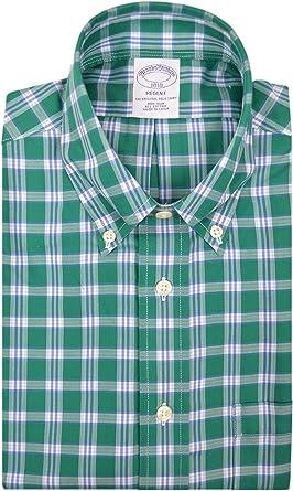 Brooks Brothers Mens 51613 Regent Fit All Cotton The Original Polo botón Down camisa verde blanco cuadrado cuadros
