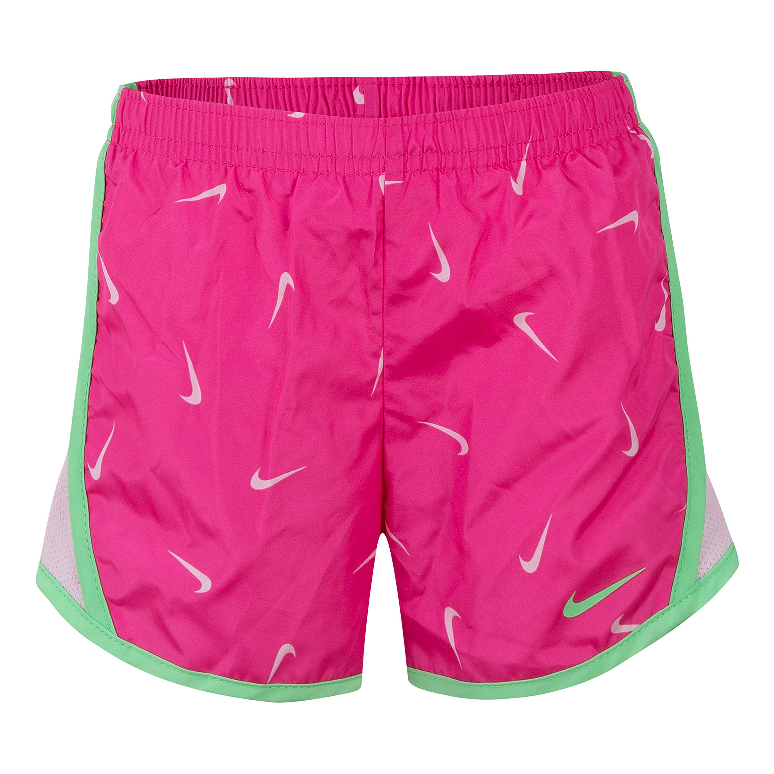 NIKE Children's Apparel Girls' Little Dri-FIT Tempo Shorts, Laser Fuchsia/Green, 4 by NIKE Children's Apparel