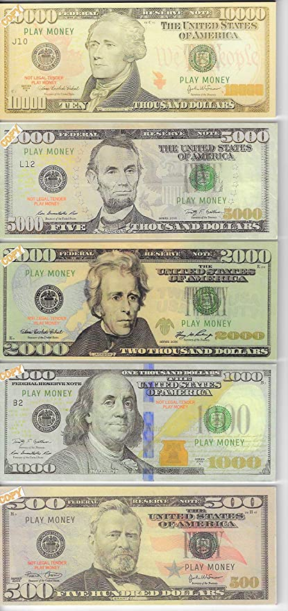 Amazon Com X10 Ea 10 00 5 000 2 000 1 000 500 Bills Prop Money Fake Play Not Legal Tender Size 2 25 X 5 25 Inch Toys Games