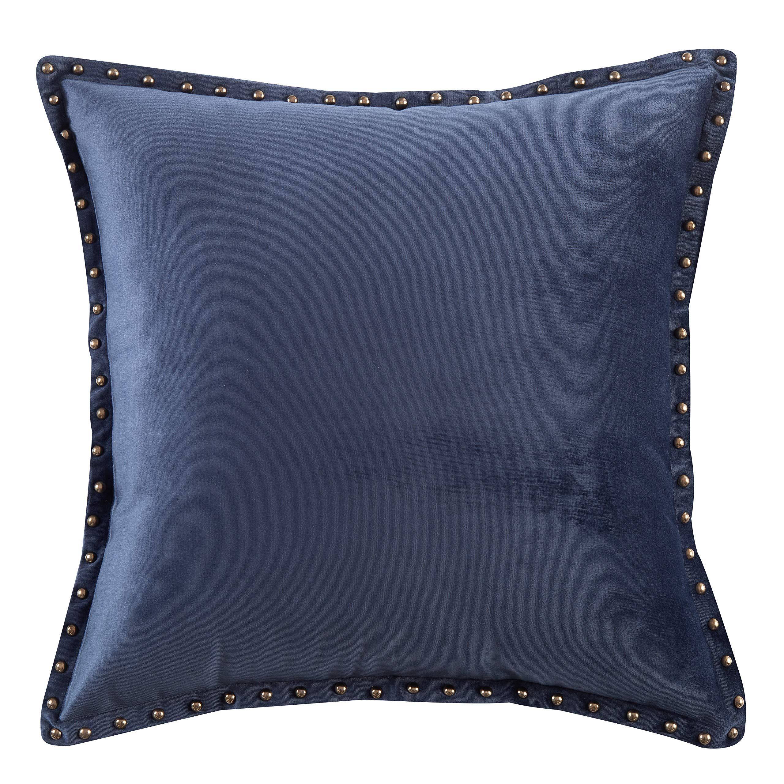 Modern Metallic Rivet Velvet Texture Decorative Throw Pillow Cover Home Office Decor Cushion Cover Square 20x20 Inch Navy