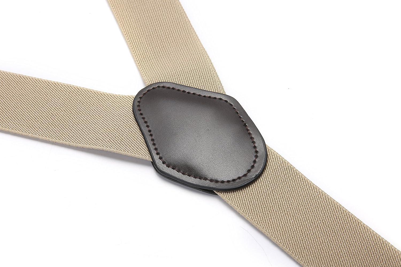 JIERKU Robusto Uomini Braces Bretelle da uomo Pelle Bretelle 6 Fibbie Y Indietro regolabili elastici durevoli Forti clip metalliche