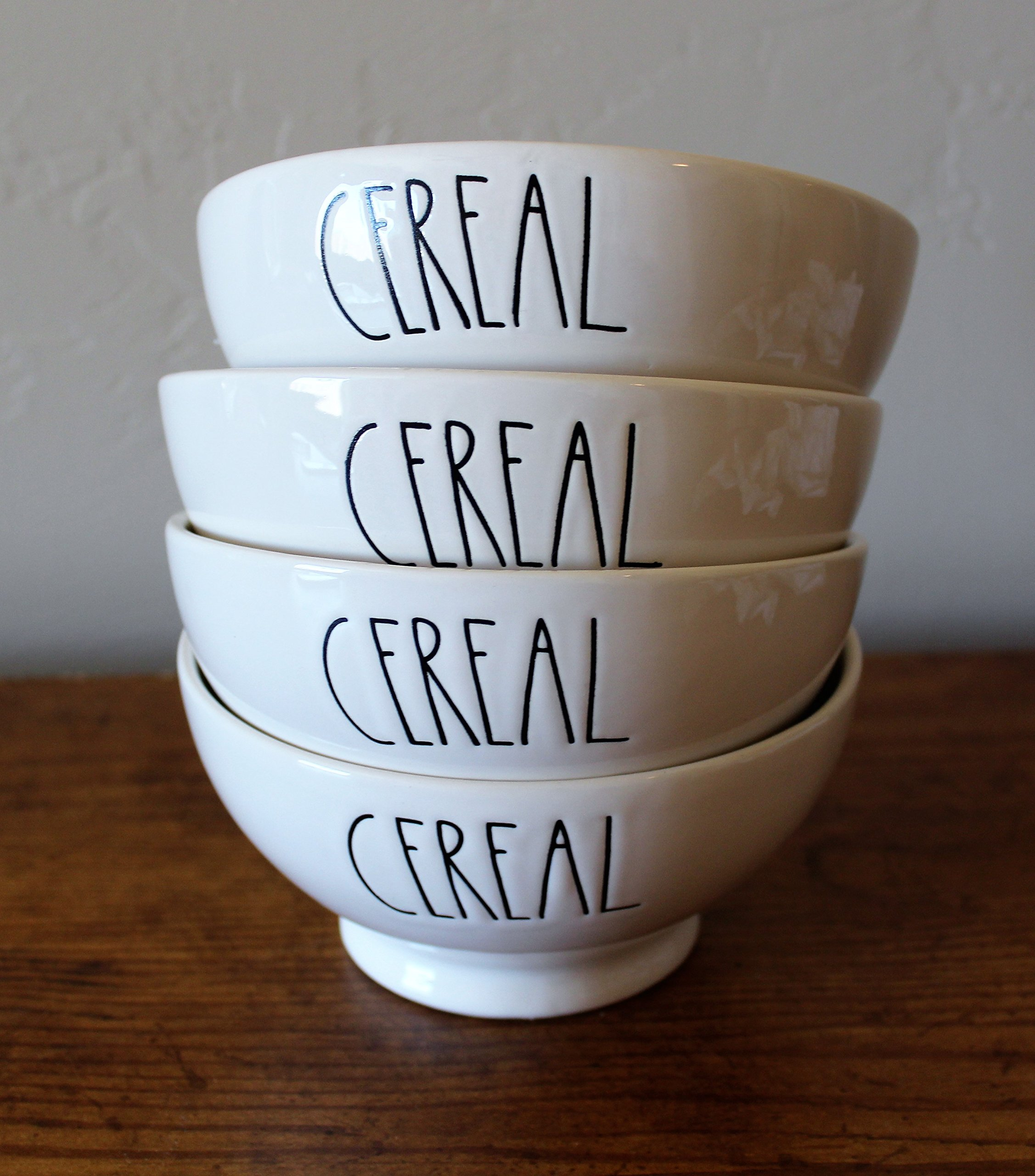 Rae Dunn by Magenta CEREAL in large letters 4 bowl set cereal soup bowl