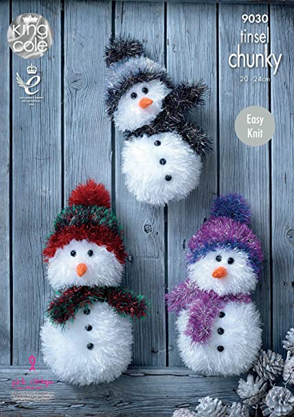 king cole tinsel chunky easy knit knitting pattern for snowman christmas toys 3 sizes 9030