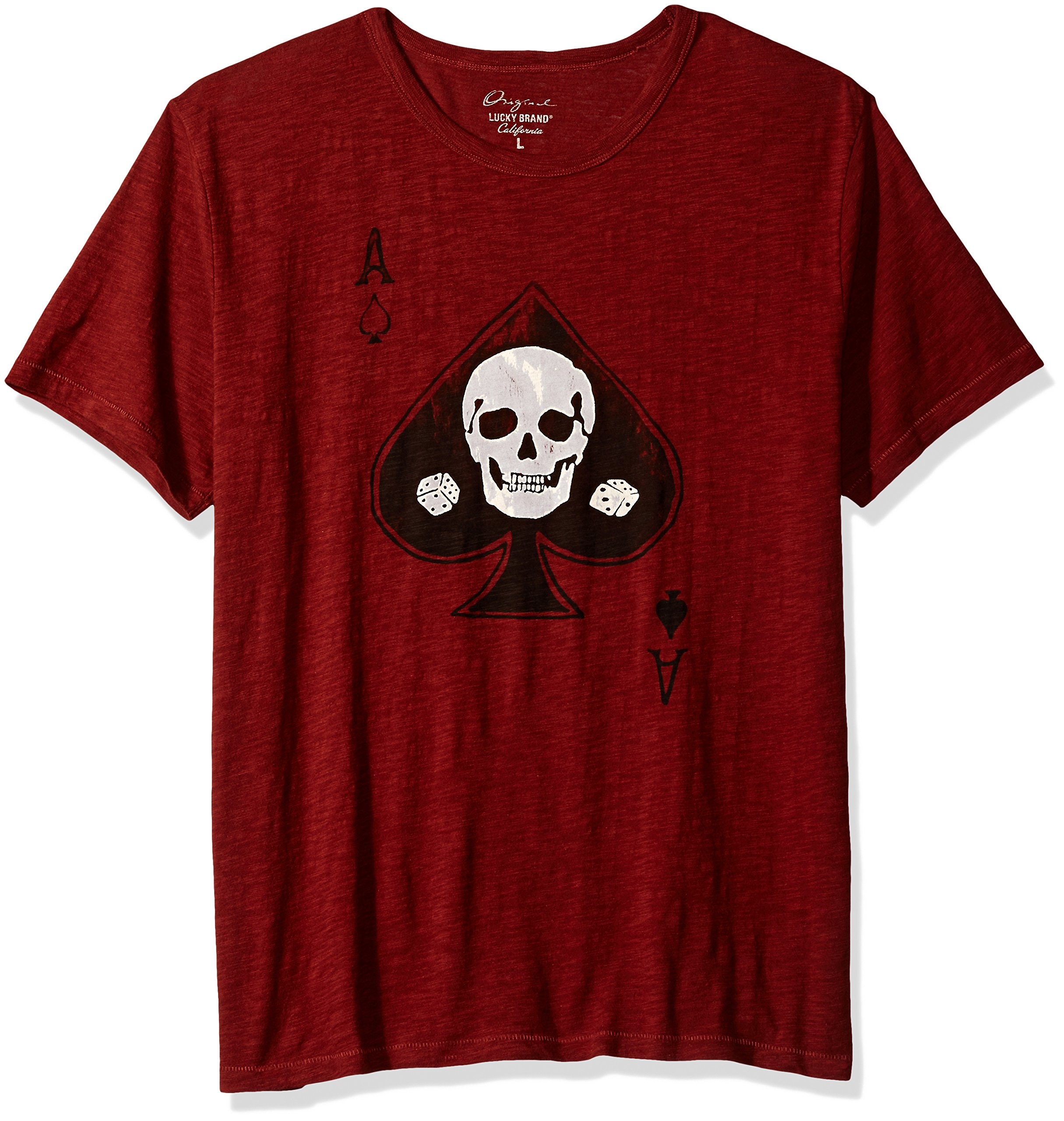 Lucky Brand Men's Skull Ace Graphic Tee, Fired Brick, Medium