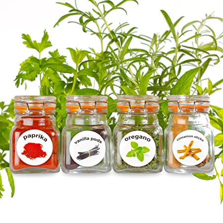 50 washable plastic herb and spice jar labels colourful attractive