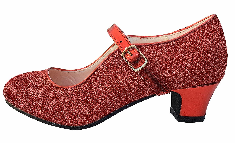 La Señorita Zapato Flamenco baile Sevillanas niña rojo purpurina (Talla 32-21 cm) xGw6MCdY