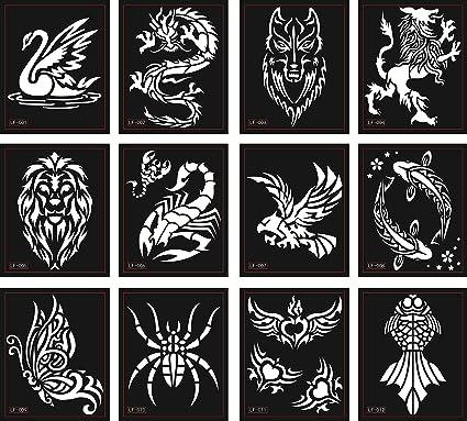 Tattoo Plantillas Plantillas 12 Sheets para Glitter Tattoo y Air ...