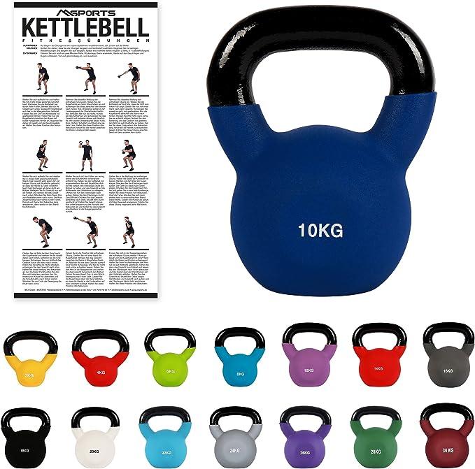 Übungsposter I Kugelhantel Neopren 4-30kg I Handgewicht Eisen Kettlebell inkl