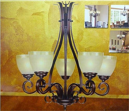 Design Solutions Chandelier 5 Light Amber Crackle Glass