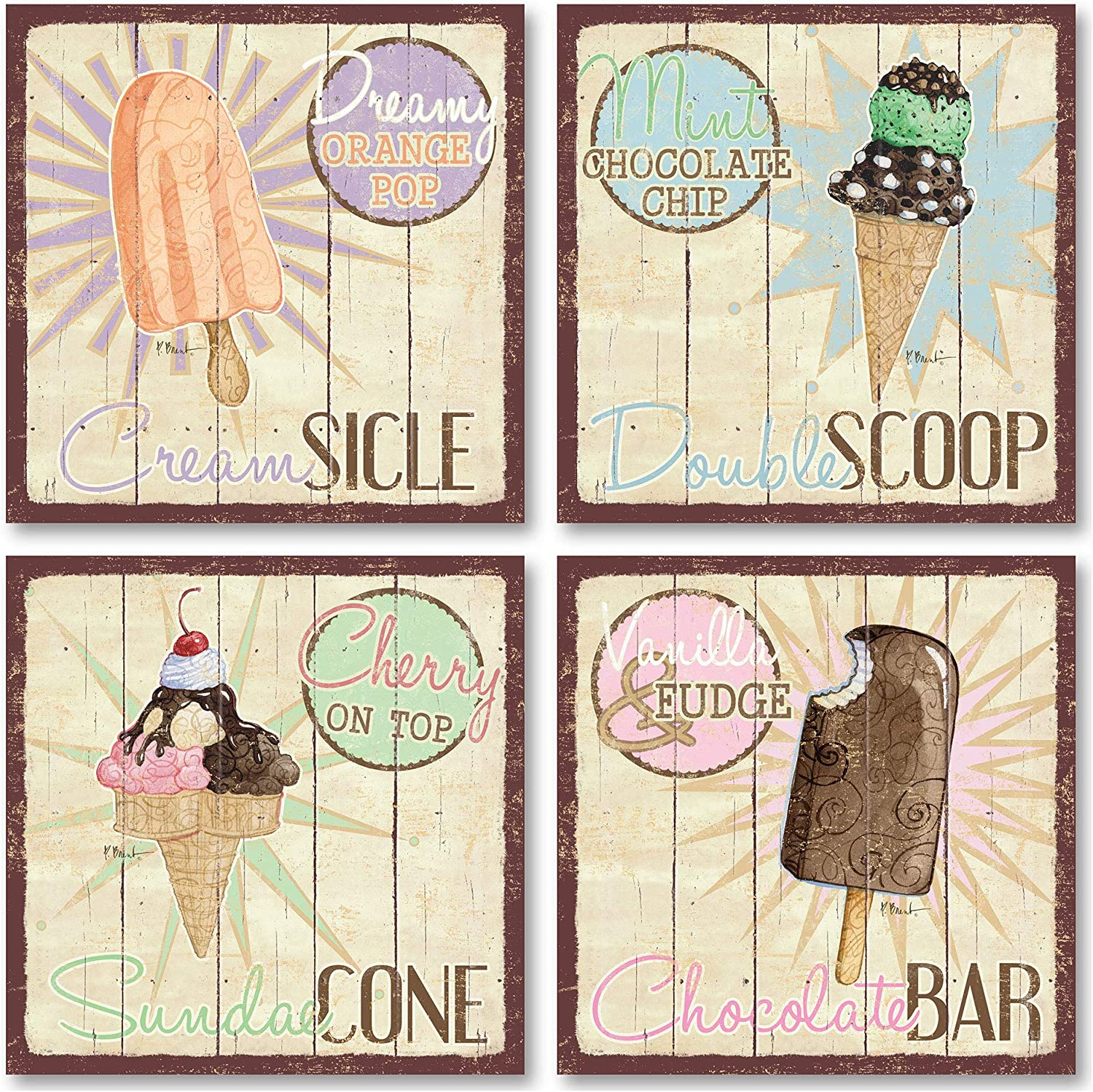 Vintage Ice Cream Shop Set, Double Scoop, Sundae Cone, Creamsicle, Chocolate Bar; Kitchen Décor; Four 12 x 12 Poster Prints