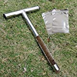 HiHydro Soil Sampler Probe12 Inch Stainless Steel with 2 Pcs Reusable Sample Bags, T-Style Handle Soil Test Kits Soil Probes