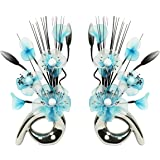Flourish 794279 QH1 Matching Pair of Silver Vases with Teal Blue Nylon Artificial Flowers in Vases Fake Flowers Ornaments Small Gift Home Accessories 32cm