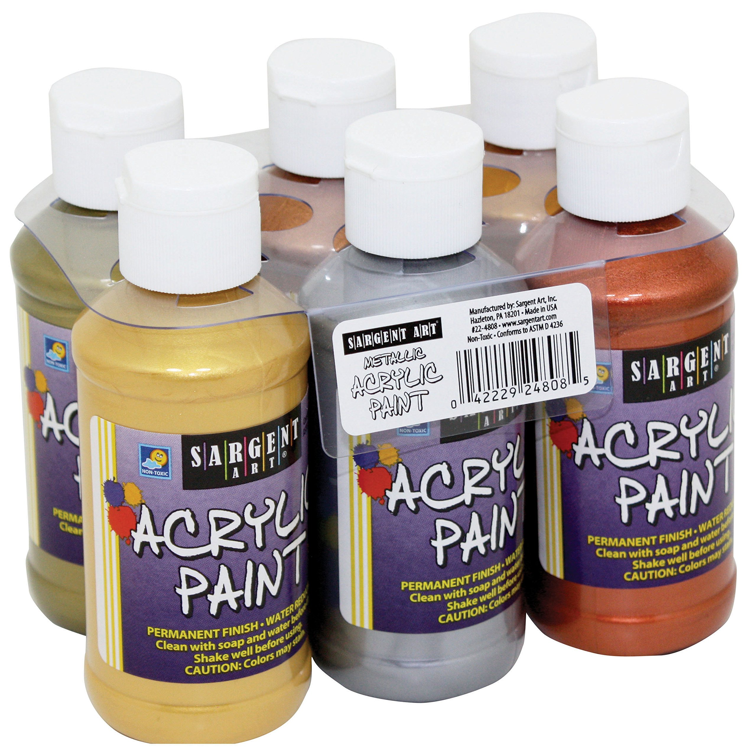 Sargent Art Metallic Acrylic Paint Set, 6-Pack by Sargent Art