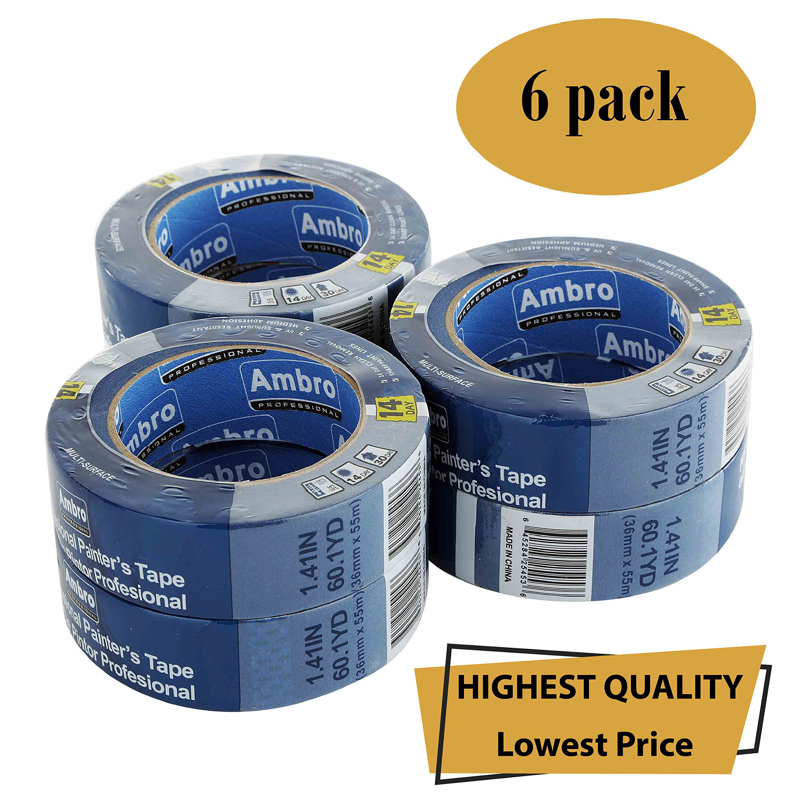 Ambro Professional Painters Tape Multi Surface Use (Blue) (6 pack, 1.5 inches x 60 yds)