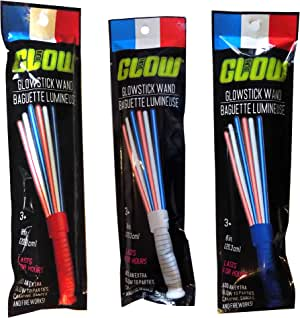 Patriotic Fourth of July Red, White, and Blue Glowstick Wands - 3 Pieces