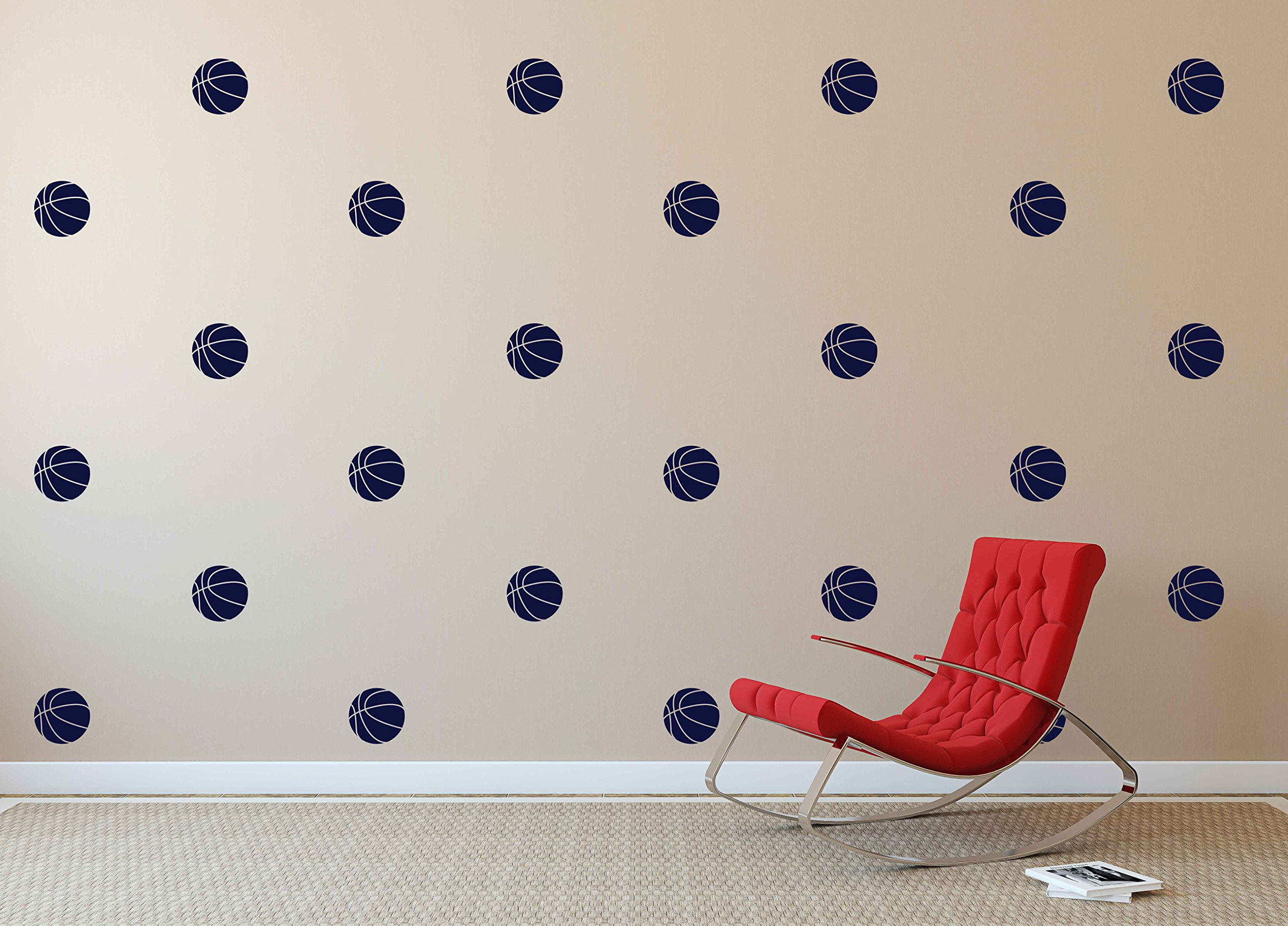 Dark Blue Basketball Pattern - Set of 25 - Sports Vinyl Wall Art Decal for Homes, Offices, Kids Rooms, Nurseries, Schools, High Schools, Colleges, Universities