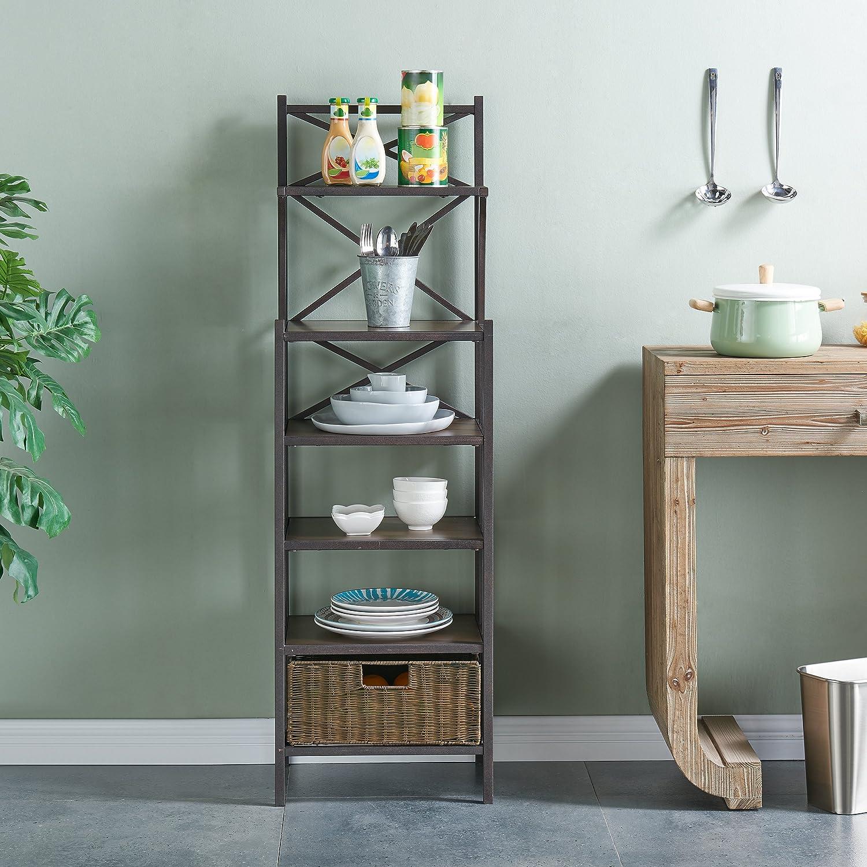 Furniture Hotspot Bakers Rack w//Storage 16.5 W x 12.5 D x 53.25 H Rustic Brown w//Dark Distressed Pine