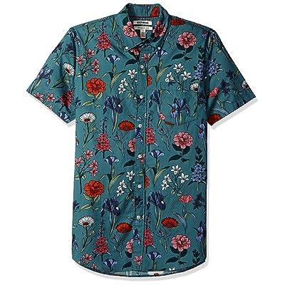 Brand - Goodthreads Men's Slim-Fit Short-Sleeve Printed Poplin Shirt: Clothing