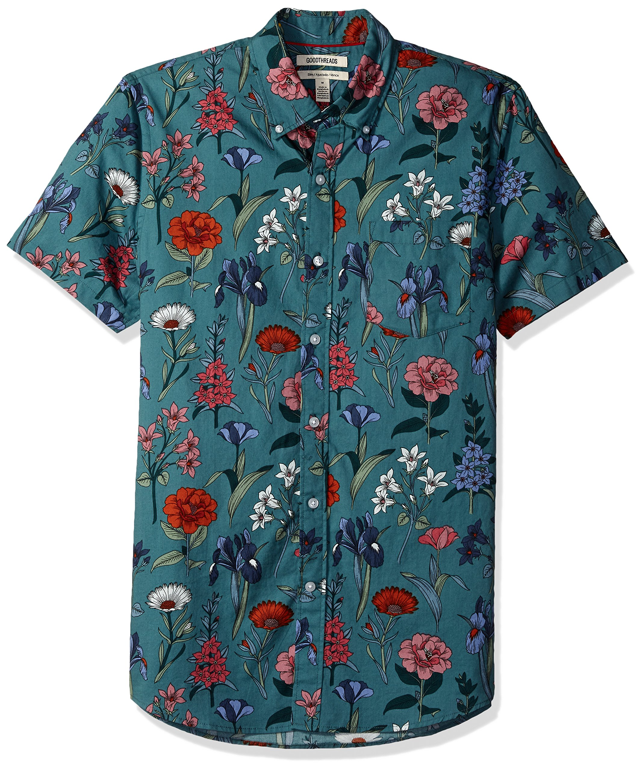 Goodthreads Men's Slim-Fit Short-Sleeve Printed Shirt, Wallpaper Floral, Large by Goodthreads