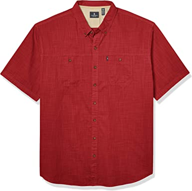 Mens Big and Tall Crosshatch Short Sleeve Button Down Solid Shirt Bass /& Co G.H
