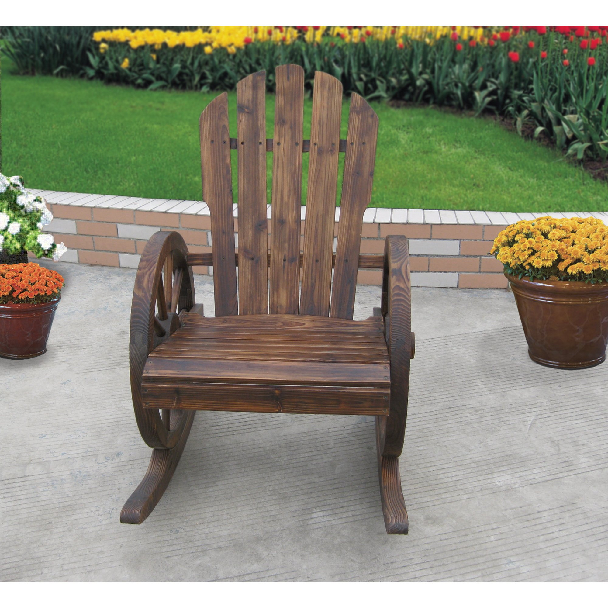 Kotulas Wagon Wheel Rocker Chair by Kotulas