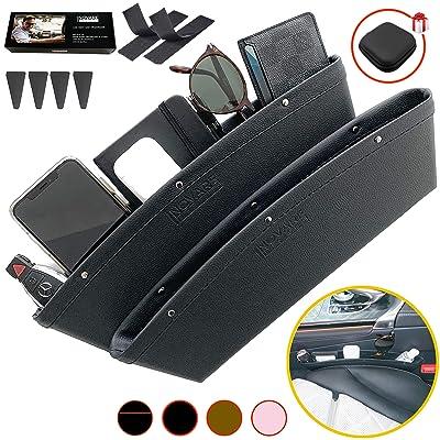 Black Gap Filler Premium PU Full Leather Console Pocket Organizer, Interior Accessories, Car Seat Side Drop Caddy Catcher, Car seat Gap Filler, Car Seat Gap Organizer, Car Seat Pockets, 2 Pack: Automotive