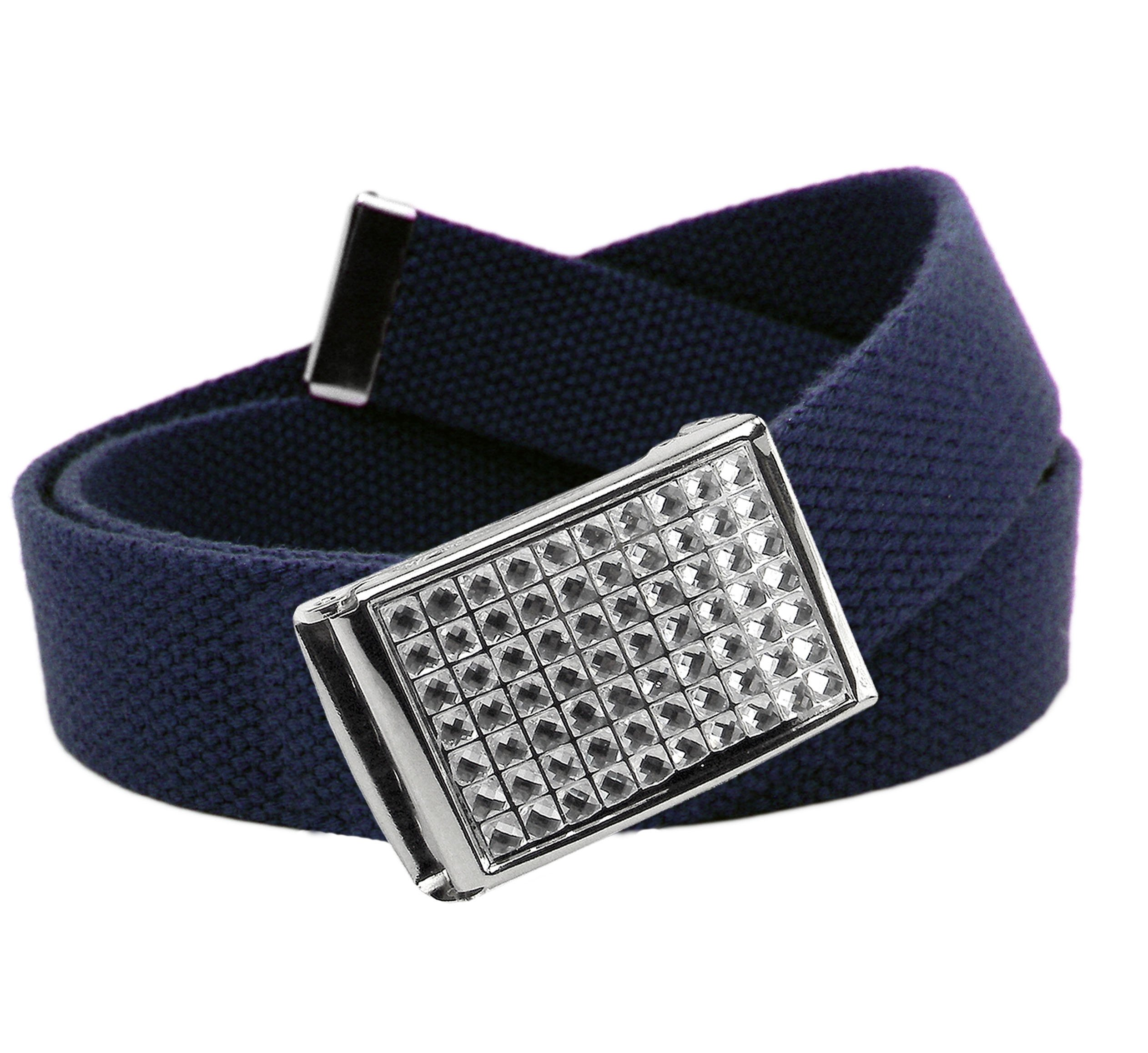 Girl's Easy Snap Crystal Buckle with Adjustable Canvas Belt Small Navy