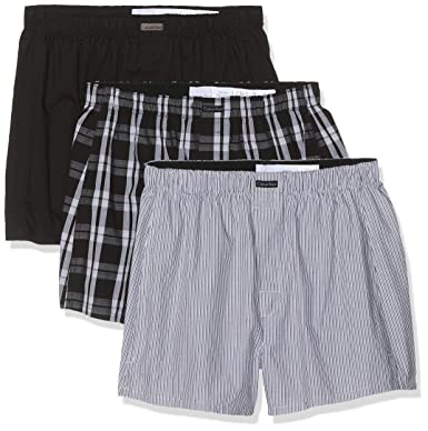 43dc66840aed Calvin Klein 3-Pack Stripe, Plaid & Plain Men's Boxer Shorts, Black/Grey at Amazon  Men's Clothing store: